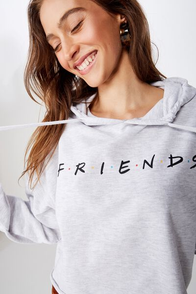 Mila Graphic Chopped Hoodie, LCN WB FRIENDS HERITAGE LOGO/SILVER MARLE