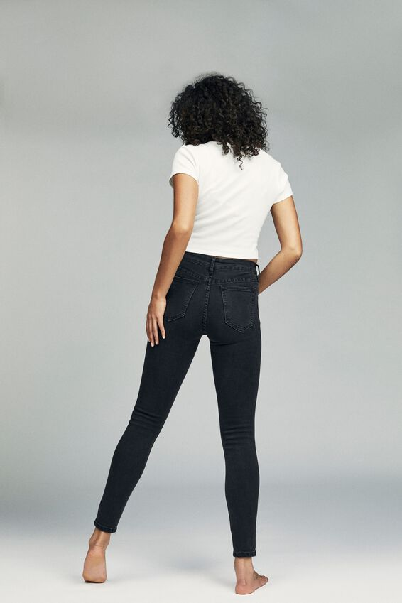 Mid Rise Skinny Jean, WASHED BLACK RIP