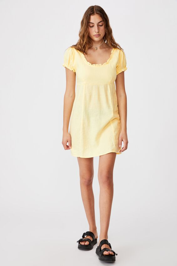 Woven Lydia Ruffle Edge Mini Dress, LEMON
