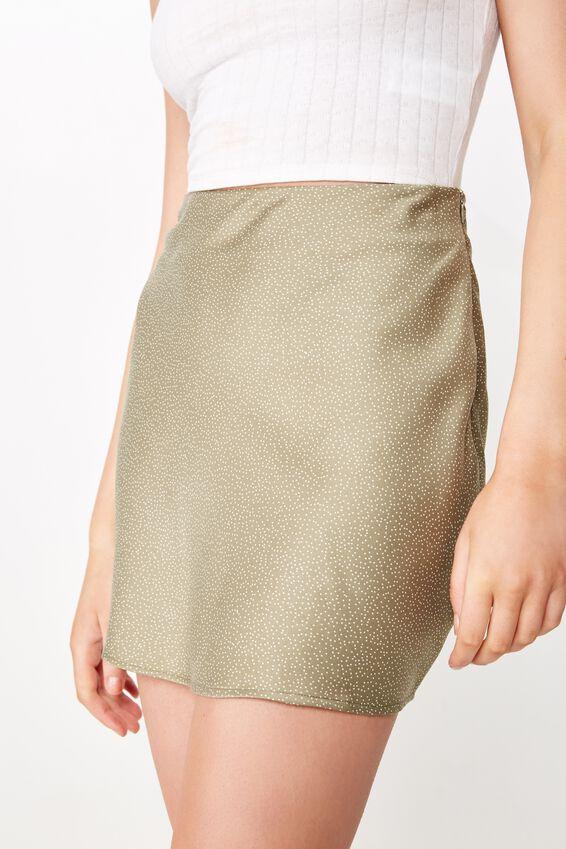 Woven Betty Bias Mini Skirt, CAMILLE SPOT LIGHT OLIVE