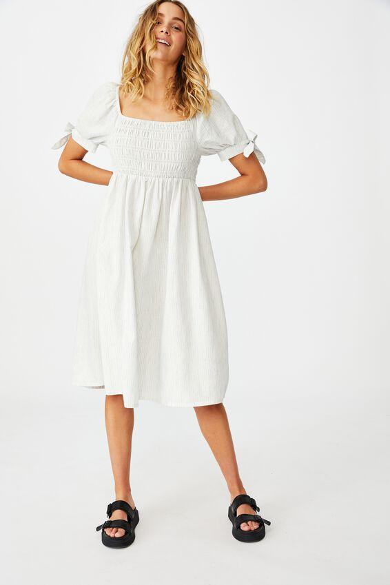 Woven Cecile Short Sleeve Midi Dress Petite, CHALK WHITE/NAVY STRIPE