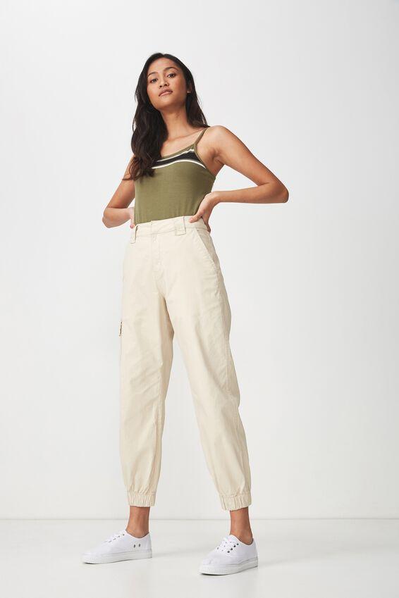 Fashion Crop Cami, MEL BLOCK PLACEMENT SOFT KHAKI/BLACK/WHITE
