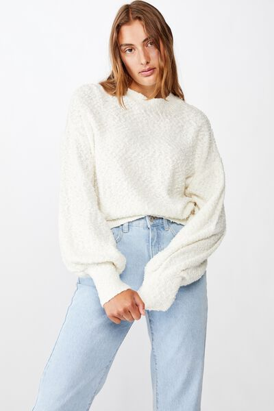 Blousson Textured Pullover, CLOUD DANCER