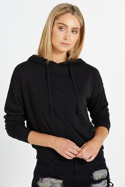 Crop Sweat Hoodie, BLACK