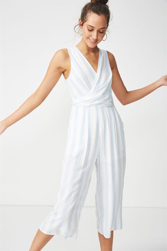 Woven Maya Twist Front Jumpsuit, ANNA STRIPE ANGEL FALLS