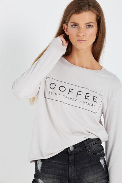 Tbar Long Sleeve Graphic Chop Tee, COFFEE SPIRIT ANIMAL/ICE GREY
