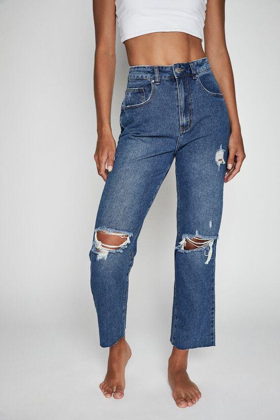 Straight Leg Jean, BRONTE BLUE RIPS