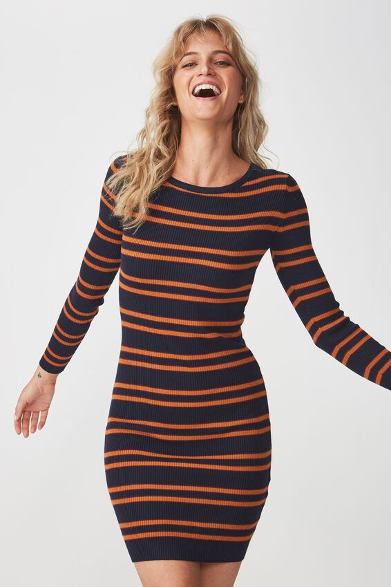 Sally Long Sleeve Midi Dress, SALMA STRIPE DARK SAPPHIRE
