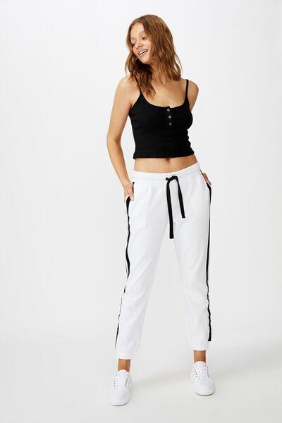 Slim Fit Trackpant, WHITE/BLACK HERRINGBONE SIDE STRIPE