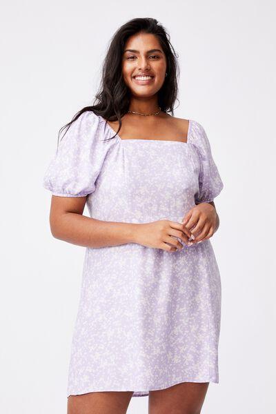 Curve Woven Lylah Bell Sleeve Mini Dress, LENA DITSY POWDER LILAC