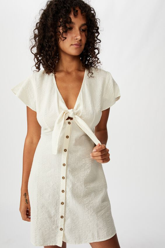 Woven Miranda Tie Front Short Sleeve Mini Dress, GARDENIA