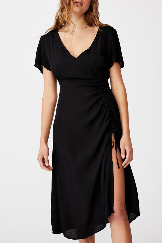 Woven Imogen Ruched Midi Dress, BLACK
