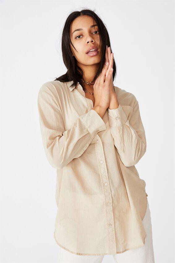 Savannah Oversize Resort Shirt, LATTE