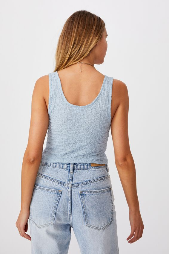 River Textured Tank Top, WASHED BLUE