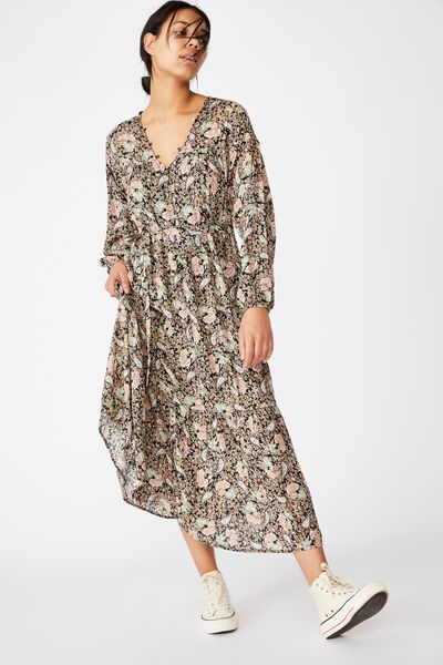 Woven Jacinta Maxi Dress, EMILY PAISLEY FLORAL BLACK/GOLD LUREX