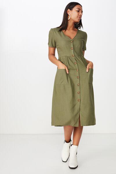 Woven Camila Button Through Midi Dress, BURNT OLIVE