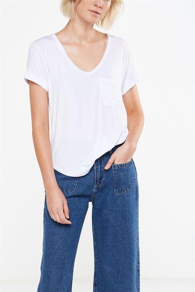 Karly Short Sleeve V Neck Top 2, WHITE