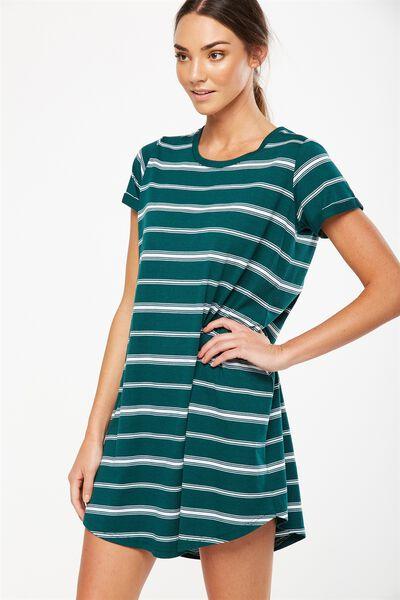 Tina Tshirt Dress 2, LIZA STRIPE WHITE HORIZONTAL