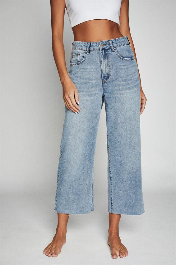 Wide Leg Cropped Jean, LUNAR BLUE