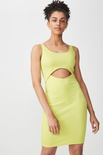 Milly Cut-Out Bodycon Mini Dress, LIMEADE