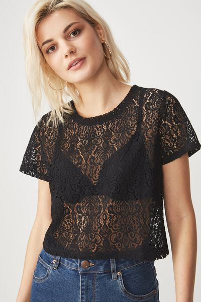 The Baby Lace Tee, BLACK
