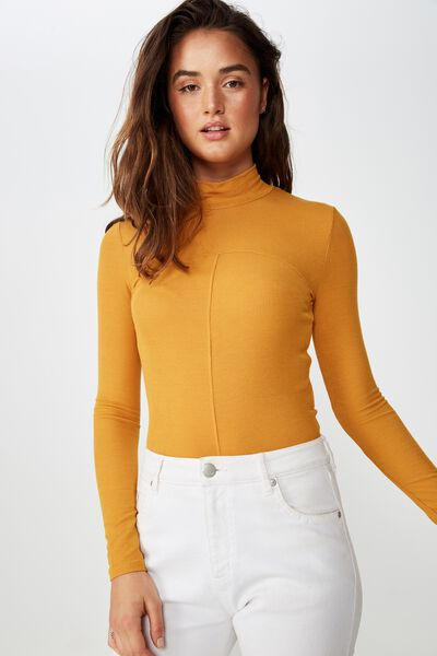 Haze Spliced High Neck Long Sleeve Top, INCA GOLD