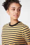 Ivy Short Sleeve Waisted Top, GRACE STRIPE BLACK/SUNFLOWER/WHITE