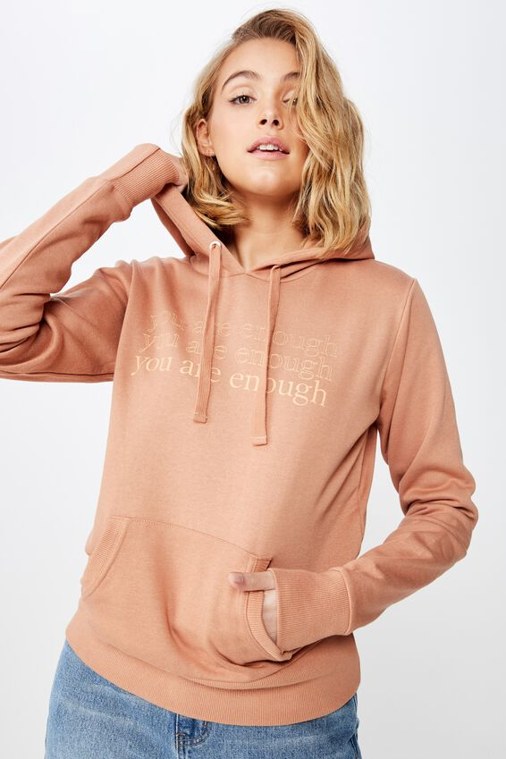 Demi Graphic Hoodie, YOU ARE ENOUGH/CAMEL