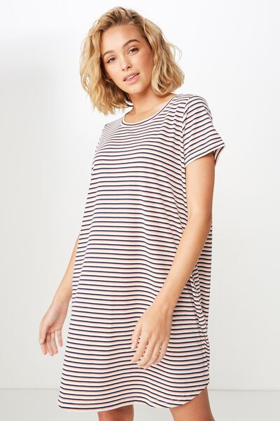 Tina Tshirt Dress 2, GIN STRIPE ROSE TAN/MOONLIGHT