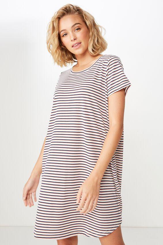 Tina Tshirt Dress 2, GIN STRIPE ROSE TAN/MOONLIGHT
