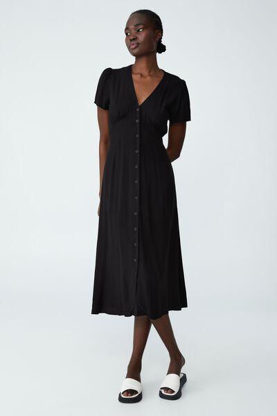 Woven Katherine Midi Dress, BLACK