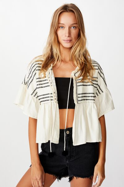 Embellished Summer Jacket, NATURAL/BLACK