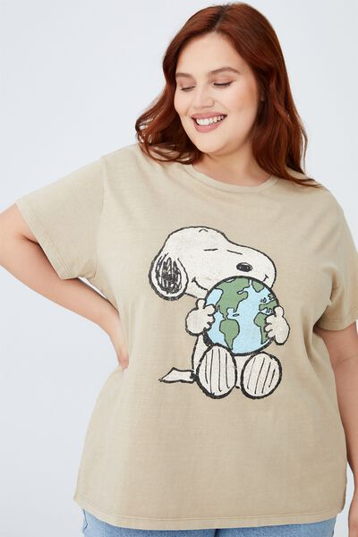 Curve Graphic License Tee, LCN PEA SNOOPY WORLD/CLAY