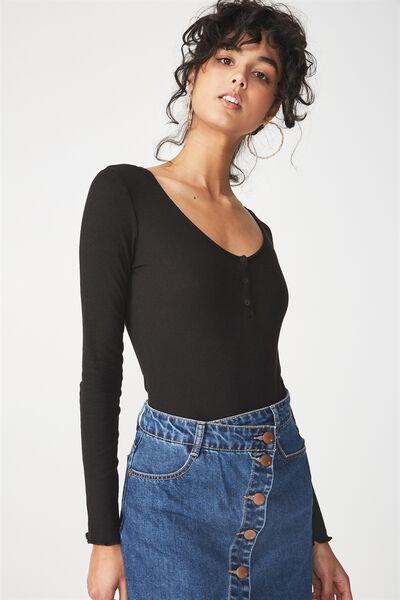 Mari-Kate Henley Long Sleeve Bodysuit, BLACK