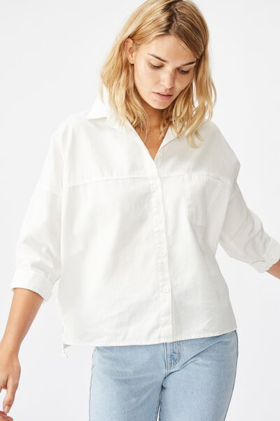 Oversize Drop Shoulder Shirt, WHITE