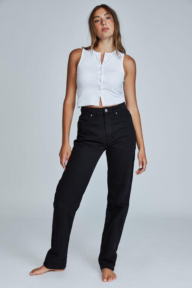 Long Straight Jean, BLACK