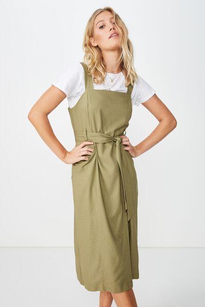 Woven Missy Utility Midi Slip Dress, LIGHT OLIVE