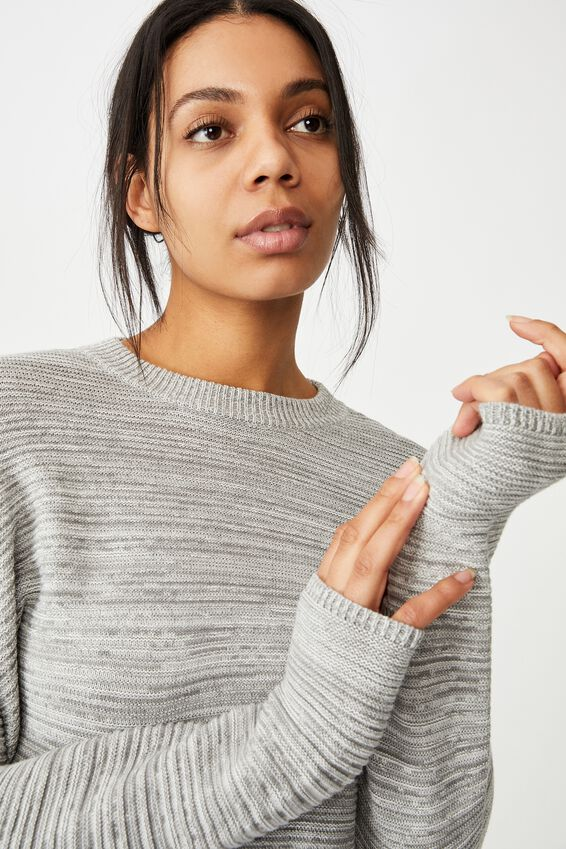 Cotton Cropped Pullover, LIGHT GREY WHITE TWIST