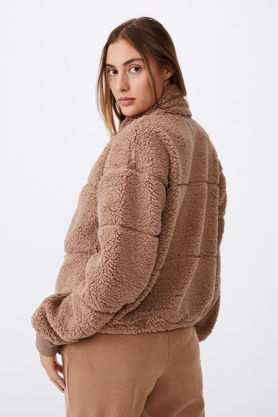 Tatum Zip Thru Teddy Jacket, NATURAL