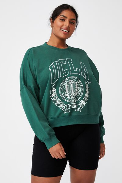Curve Classic Graphic Crew Neck Pull Over, LCN UCLA UNIVERSITY OF LA/HERITAGE GREEN