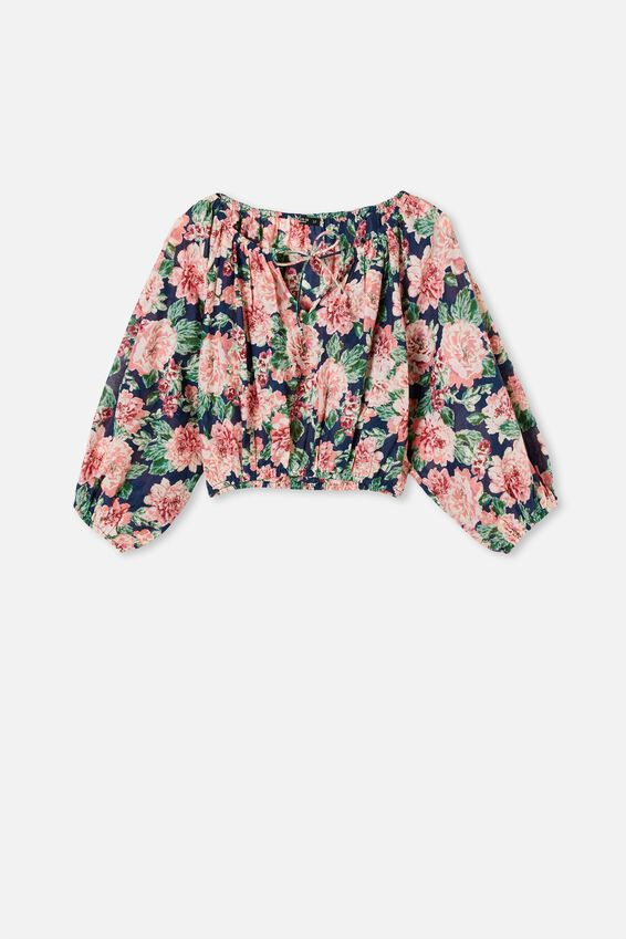 Float On Blouse, KEILY FLORAL MEDIEVAL BLUE