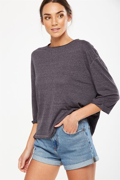 Jackie Oversized Long Sleeve Top, CHARCOAL MARLE BURNOUT