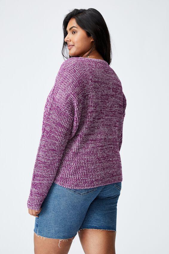 Curve Riley Cotton Knit Jumper, DARK MAUVE TWIST