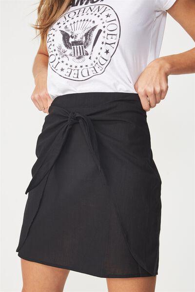 Woven Kelly Knot Front Mini Skirt, BLACK