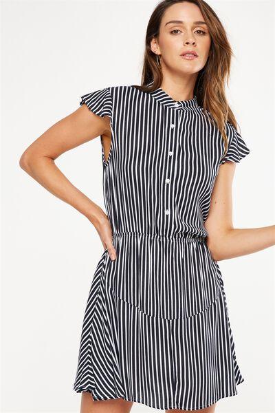 Woven Emily Short Sleeve Dres, CADET BLUE/WHITE HANNA STRIPE