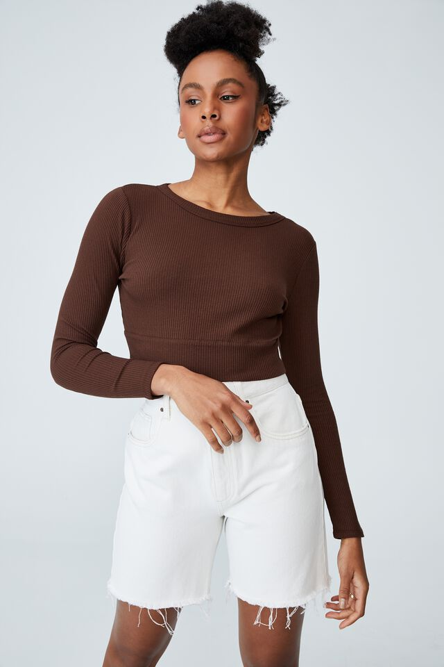 The Essential Crew Neck Long Sleeve, RICH CHOCOLATE