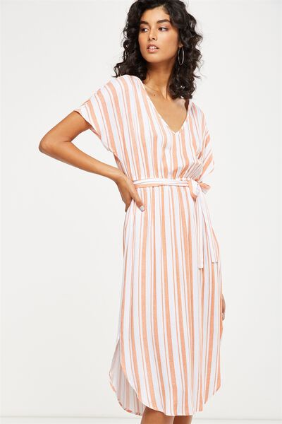 Woven Melina Midi Dress, CHLOE STRIPE EMBERGLOW