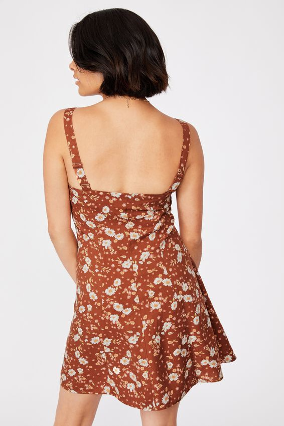 Woven Blair Button Through Strappy Mini Dress, ROWENA FLORAL BRONZED BROWN