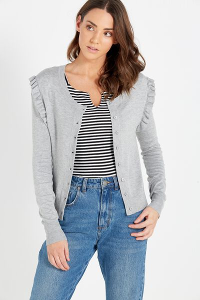 Frilly Fashion Cardigan, GREY MARLE