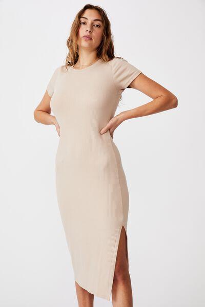 Essential Split Short Sleeve Midi Dress, LATTE